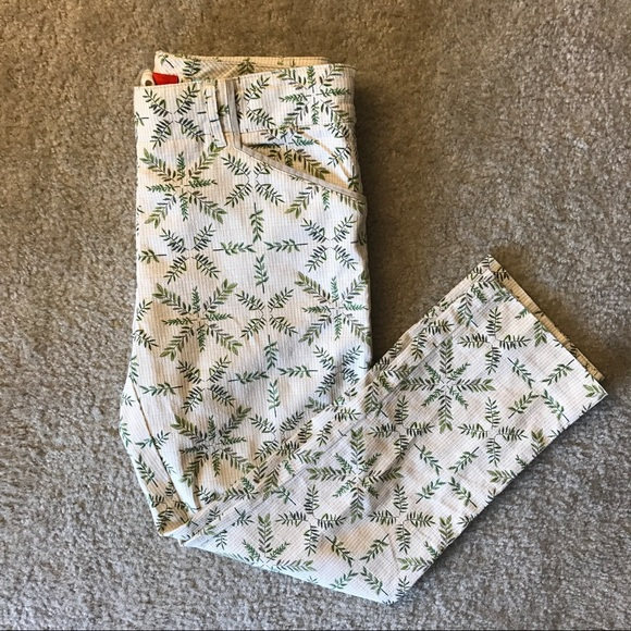 Anthropologie Pants Cartonnier Charlie Trouser Tan 2 Leaf Print Anthro Poshmark